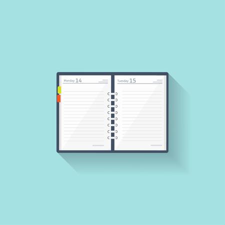 Notebook in een vlakke stijl. Herinnering, dagboek. Zakelijke planner. Boekje. Papier vectorillustratie Stock Illustratie