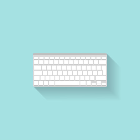 typing on keyboard: Computier keyboard in a flat style. Typing. Letters and numbers. Vector illustration Illustration