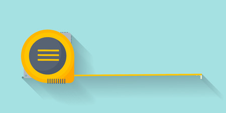 Ruler in a flat style. Scale. Width and length. Measurement tool. Vector illustration Vettoriali
