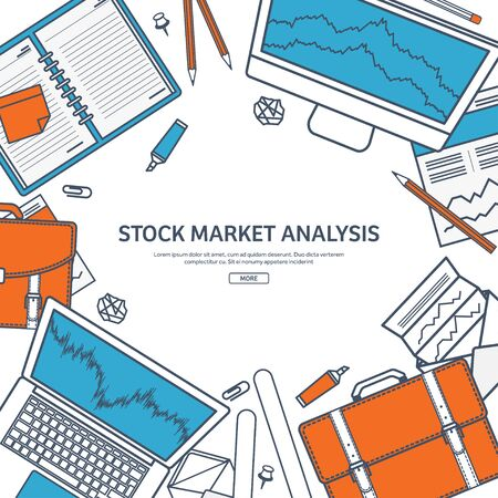 moneymaking: Line art.Vector illustration. Flat background. Market trade. Trading platform ,account. Moneymaking,business. Analysis. Investing.