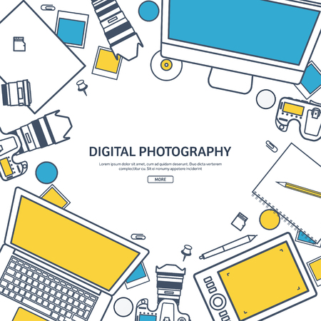 retouch: Line art.Photographer equipment on a table. Photography tools, photo editing, photoshooting flat background. Digital photocamera with lens. Vector illustration. Illustration