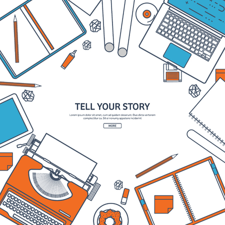 author: Line art.Vector illustration. Flat typewriter.Laptop. Tell your story. Author. Blogging. Illustration