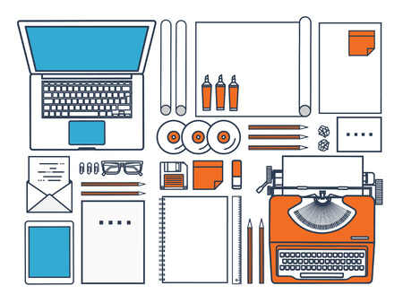 author: Vector illustration. Flat typewriter.Laptop. Tell your story. Author. Blogging.Line art.