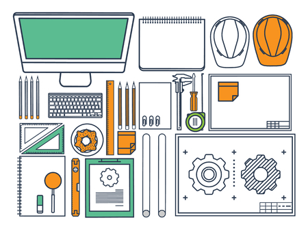 speciality: Vector illustration. Engineering and architecture. Drawing, construction. Architectural project. Design, sketching. Workspace with tools. Planning, building.Line art.