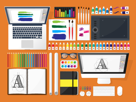 design drawing: Graphic web design. Drawing and painting. Development. Illustration, sketching, freelance. User interface. UI. Computer, laptop.Typewriting Illustration