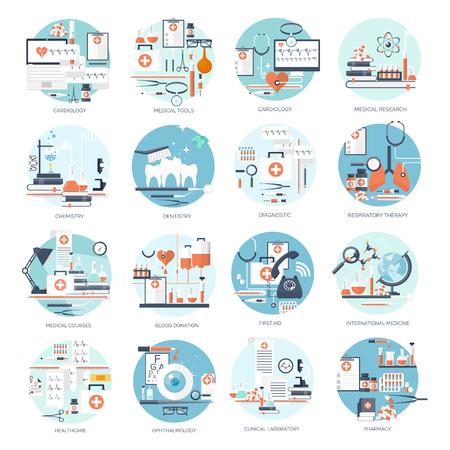 ベクトルの図。フラット医療の背景。健康管理、応急処置、研究、循環器。医学研究。化学工学、薬学。  イラスト・ベクター素材