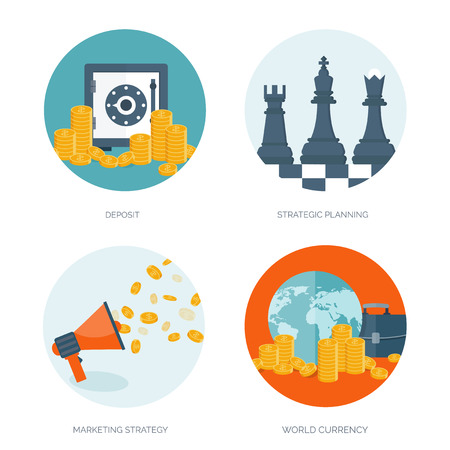 Flat vector illustration background. Money, money making. Web payments. World currency. Internet store, shopping. Pay per click. Business. Illustration