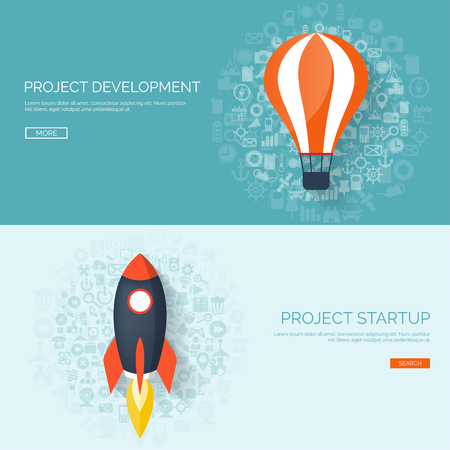 smart solutions: Flat rocket. Project start up. Space. Smart solutions. New product launch