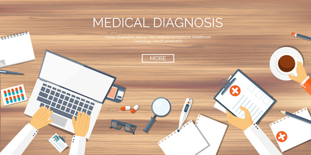 Vector illustration. Flat medical background. Health care,first aid, research,cardiology. Medicine,study. Chemical engineering,pharmacy. Illustration