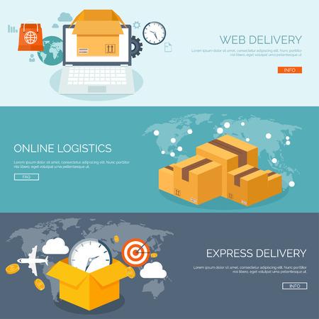 Flat vector illustration backgrounds set. International delivery, worldwide postage. Emailing,online shopping. Envelope,package.