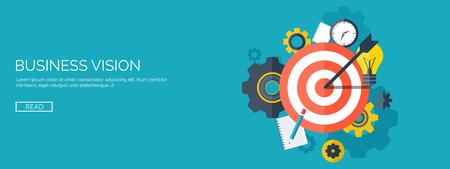 Vektor-Illustration. Flache Hintergrund. Neue Ideen, intelligente Lösungen. Business-Ziele. Zusammenspiel. Targeting.