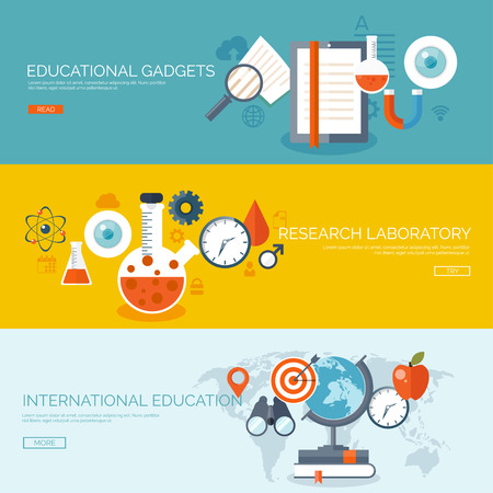 cognitive: Vector illustration. Flat backgrounds set. Distance education,learning. Online courses, web school. Knowledge,information. Study process. E-learning.