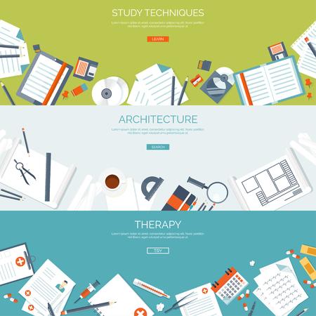 cognicion: Ilustración del vector. fondos de pantalla plana conjunto. La educación a distancia, el aprendizaje. Los cursos en línea, escuela web. El conocimiento, la información. proceso de estudio. E-learning.