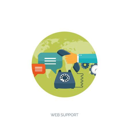 Vector illustration. Flat background. Web service. Mechanical tools. Development, online support. Illustration