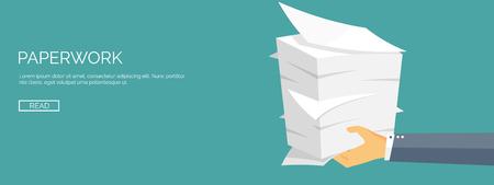 Vector illustratie. Vlakke achtergrond met papieren. papierwerk en kantoor routine, documenten. Workspace.