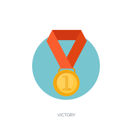 Vector illustration set. Flat business concept background. Achievements, mission. Aims, new ideas. Smart solutions. First place. Medal. Illustration