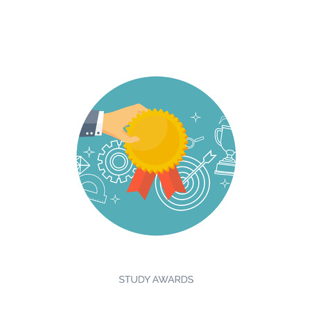 aims: Vector illustration set. Flat business concept background. Achievements, mission. Aims, new ideas. Smart solutions. First place. Medal. Illustration