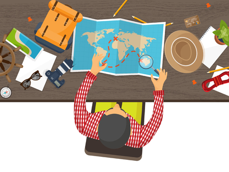 expedition: Travel and tourism. Flat style. World, earth map. Globe. Trip, tour, journey, summer holidays. Travelling,exploring worldwide. Adventure,expedition. Table, workplace. Traveler. Navigation.