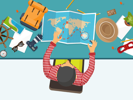 on top of the world: Travel and tourism. Flat style. World, earth map. Globe. Trip, tour, journey, summer holidays. Travelling,exploring worldwide. Adventure,expedition. Table, workplace. Traveler. Navigation.