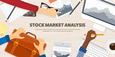 stock trader: Vector illustration. Flat background. Market trade. Trading platform ,account Moneymakingbusiness Analysis Investing Illustration