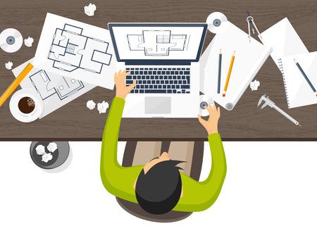 ベクトルの図。建築工学図面、建設。建築プロジェクト。デザイン、スケッチのワークスペース ツールで計画建物