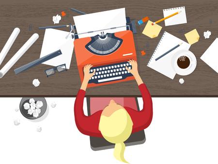 ベクトルの図。フラットのタイプライター。ノート パソコン。著者のブログ体験談を教えてください。