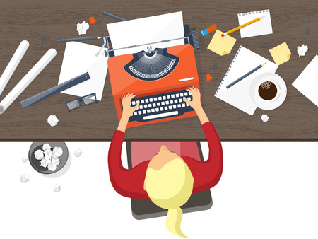 Vector illustratie. Flat typewriter.Laptop. Vertel je verhaal Auteur Blogging Stockfoto - 64416745