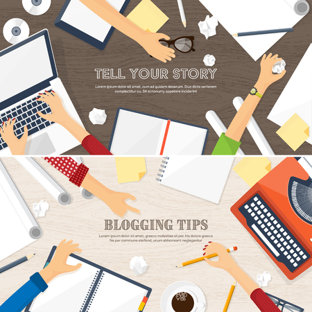 author: Vector illustration. Flat typewriter.Laptop. Tell your story Author Blogging