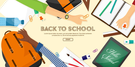 Back to school flat background. Online education and study. Teacher, student.