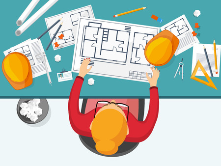 Vector illustration. Engineering and architecture. Drawing, construction. Architectural project. Design, sketching Workspace with tools Planning building Illustration