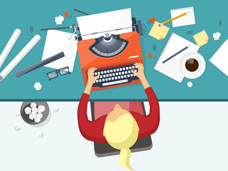 Vector illustration. Flat typewriter.Laptop. Tell your story Author Blogging