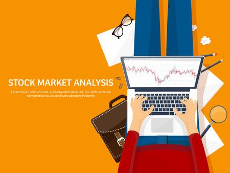 Vector illustration. Flat background. Market trade. Trading platform ,account Moneymakingbusiness Analysis Investing Illustration