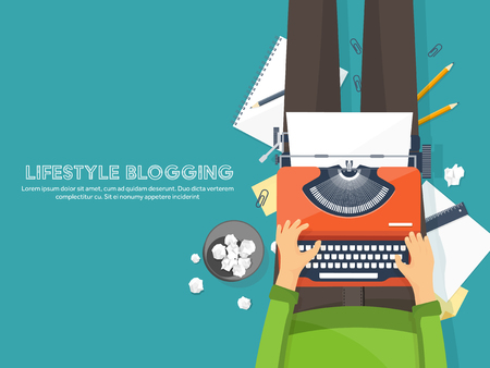Workplace with typewriter. Flat design.Writing a blog,blogging.Storytelling technique.Copywriting.