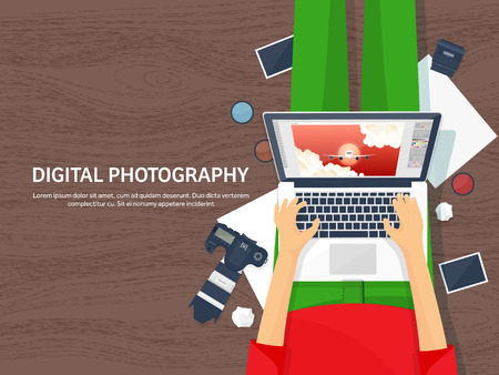 postproduction: Photographer equipment on a table. Photography tools, photo editing, photoshooting flat background. Digital photocamera with lens. Vector illustration