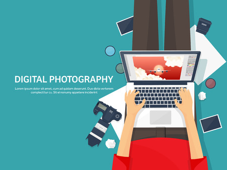 retouch: Photographer equipment on a table. Photography tools, photo editing, photoshooting flat background. Digital photocamera with lens. Vector illustration
