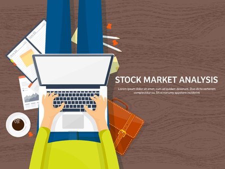 traders: Vector illustration. Flat background. Market trade. Trading platform ,account Moneymakingbusiness Analysis Investing Illustration