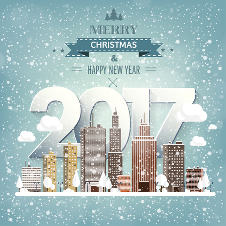 urban city: Vector illustration. Winter urban landscape. City with snow. Christmas and new year. Cityscape. Buildings.2017.