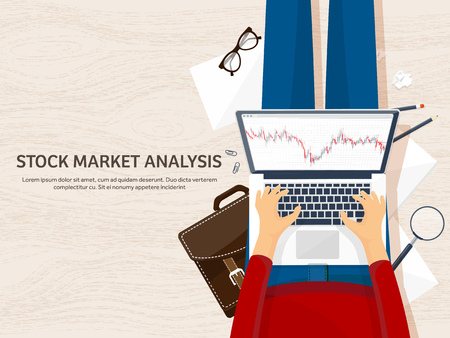 traders: Vector illustration. Flat background. Market trade. Trading platform ,account Moneymakingbusiness Analysis Investing Illustration