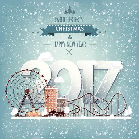 christmas concept: Vector illustration. Winter urban landscape. City with snow. Christmas and new year. Cityscape. Buildings.2017.