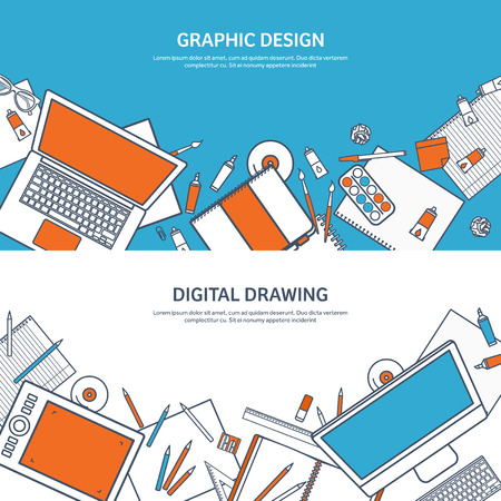Vector illustration. Study and education. Lined flat style. Knowledge,information. School learning process.Online courses. Illustration