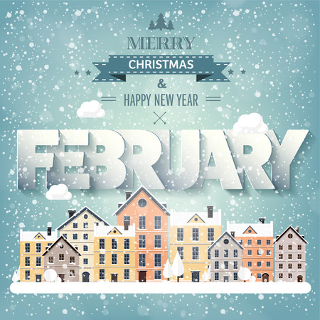 snow scape: February month,winter cityscape.City silhouettes.Town skyline. Panorama. Midtown houses.New year,christmas.Holidays in January,December.