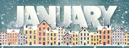 snow scape: January month,winter cityscape.City silhouettes.Town skyline. Panorama. Midtown houses.New year,christmas.Holidays in December,February.