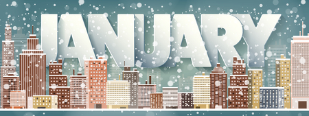 midtown: January month,winter cityscape.City silhouettes.Town skyline. Panorama. Midtown houses.New year,christmas.Holidays in December,February.