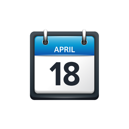 April 18. Calendar icon.Vector illustration,flat style.Month and date..Sunday,Monday,Tuesday,Wednesday,Thursday,Friday,Saturday.Week,weekend,red letter day. 2017,2018 year.Holidays.