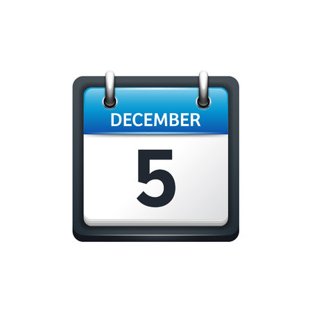 December 5. Calendar icon.Vector illustration,flat style.Month and date.Sunday,Monday,Tuesday,Wednesday,Thursday,Friday,Saturday.Week,weekend,red letter day. 2017,2018 year.Holidays. Illustration