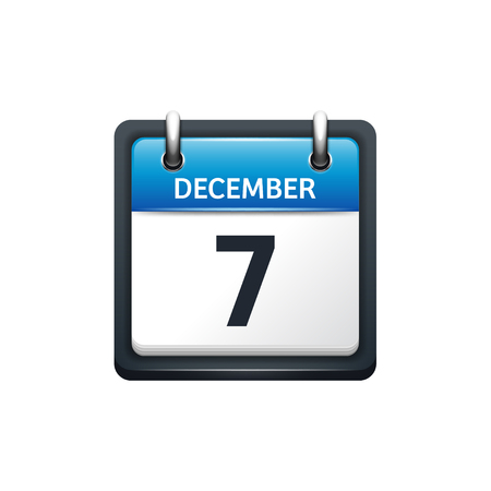 scheduler: December 7. Calendar icon.Vector illustration,flat style.Month and date.Sunday,Monday,Tuesday,Wednesday,Thursday,Friday,Saturday.Week,weekend,red letter day. 2017,2018 year.Holidays.