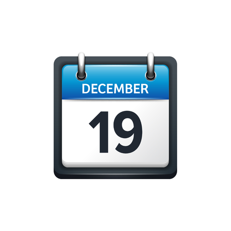 scheduler: December 19. Calendar icon.Vector illustration,flat style.Month and date.Sunday,Monday,Tuesday,Wednesday,Thursday,Friday,Saturday.Week,weekend,red letter day. 2017,2018 year.Holidays.