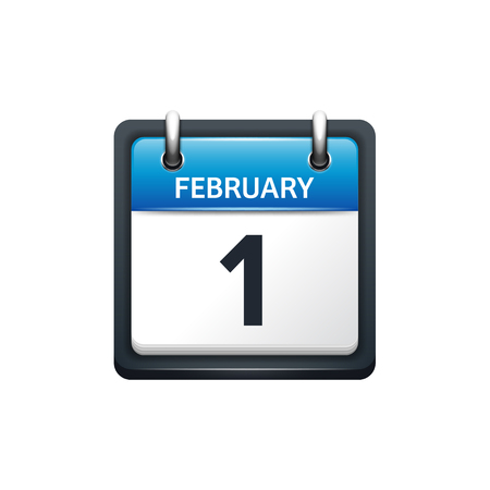 february 1: February 1. Calendar icon.Vector illustration,flat style.Month and date.Sunday,Monday,Tuesday,Wednesday,Thursday,Friday,Saturday.Week,weekend,red letter day. 2017,2018 year.Holidays. Illustration
