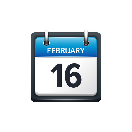 february: February 16. Calendar icon.Vector illustration,flat style.Month and date.Sunday,Monday,Tuesday,Wednesday,Thursday,Friday,Saturday.Week,weekend,red letter day. 2017,2018 year.Holidays.