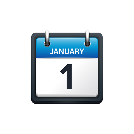 january 1: January 1. Calendar icon.Vector illustration,flat style.Month and date.Sunday,Monday,Tuesday,Wednesday,Thursday,Friday,Saturday.Week,weekend,red letter day. 2017,2018 year.Holidays. Illustration